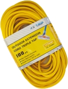 12 Gauge 100 Ft. Triple Tap SJTW Yellow Cord