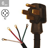 6/2-8/2 SRDT 50 Amp 6 Ft. 4 Wire Range Cord Kit