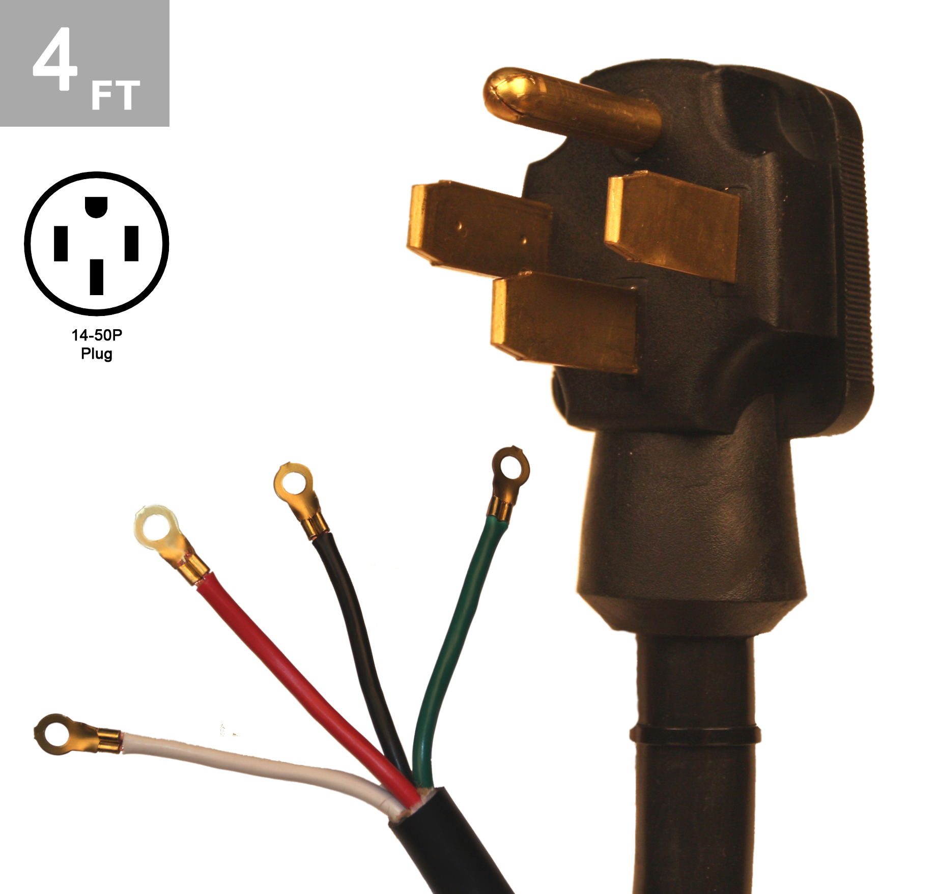 6/2-8/2 SRDT 50 Amp 4 Ft. Range Cord Kit